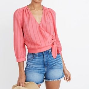 Madewell Cecilia pink striped wrap blouse
